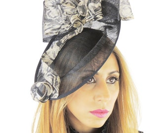 Black & Cream Tien Fascinator Hat for Weddings, Kentucky Derby With Headband(in 20 colours)