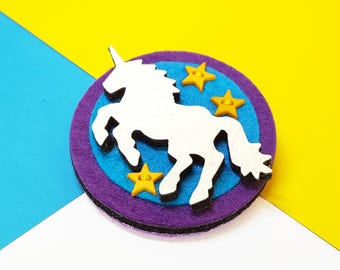 Unicorn Brooch - Twilight Unicorn Brooch - Unicorn Pin with Fly High Button Badge
