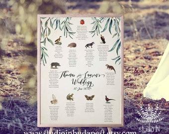Woodland Wedding seating chart, animal seating plan, wedding seating plan, forest wedding seating chart, woodland wedding seating, PRINTABLE