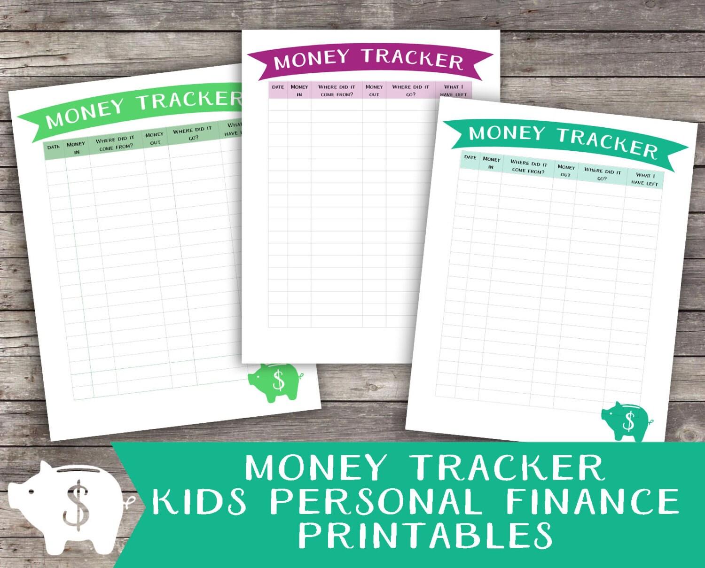 money printable money tracker for kids children s