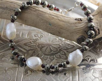Bracelet of pyrite, Garnet stones, beads and silver