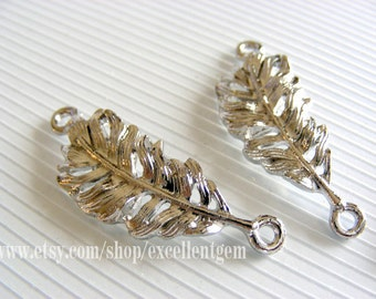 10pcs-- Silver plated plumage curced bracelet Connector,15*35mm