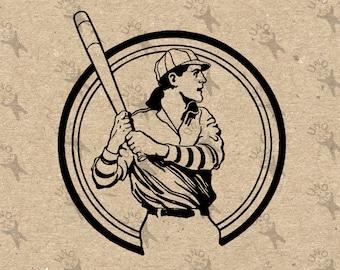 Vintage Baseball Player Batter image Instant Download printable Vintage picture clipart digital graphic iron on, burlap, stickers etc 300dpi