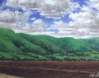 Open Fields - small original pastel painting California landscape green hills clouds farmland standard size skies central coast
