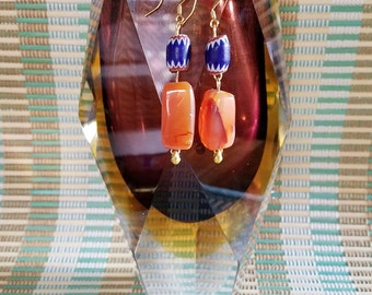 Blue and Agate Earrings