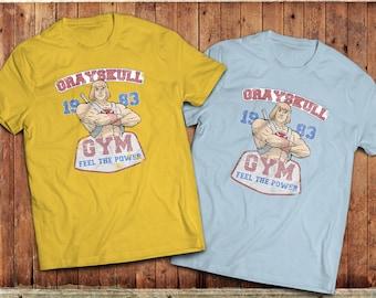 He man Gym T-Shirt, Castle Greyskull Masters of the Universe cartoon tee, 1980's TV Show, eighties cartoon classic.