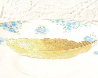 Gold Feather Barrette - Gold Feather - French Barrette - Woodland Collection - Whimsy - Bridal