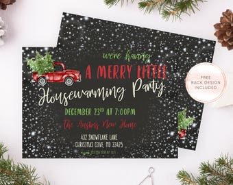 Christmas Party Invites, Housewarming Party Invitation, Holiday Housewarming Invites, Housewarming Invites, Christmas Housewarming Party 687