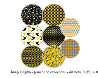 """Digital images """"Black and yellow"""" - Santa Claus 56 for 30, 20, 14 cabochon 10 mm"""