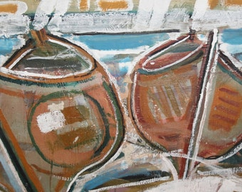 Vintage Avant Garde landscape boats oil painting