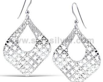 Italian Style Earrings,Party Wear Earrings,Filigree Earrings,Laser Cut Earrings,Huge Earrings,Silver Statement Earrings