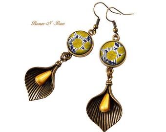Earrings * sunflowers * yellow bronze glass cabochon