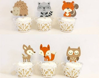 Woodland Cupcake Toppers. Woodland Baby Shower. Woodland Party Decorations. Rustic. Fall Baby Shower. Fall Party Decorations. Gender Neutral