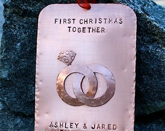 Personalized First Christmas As Mr. & Mrs. - First Christmas Together Hand-Stamped Copper Keepsake Ornament