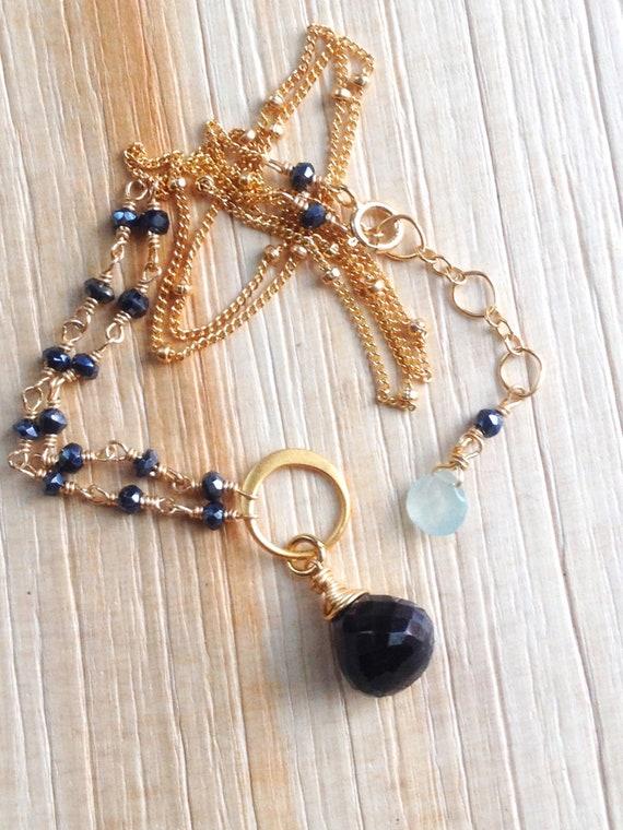 Black Onyx Necklace Black Spinel Aquamarine Onyx Pendant Wire Wrap Gold Filled Satellite Chain First Chakra Grounding Stone