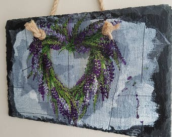 Decouoage slate, garden decor, touch of purple, handcrafted