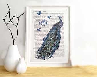 Peacock butterflies print on vintage paper. Original page from a book. Wall decoration.