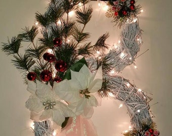 grapevine snowman wreath with lights