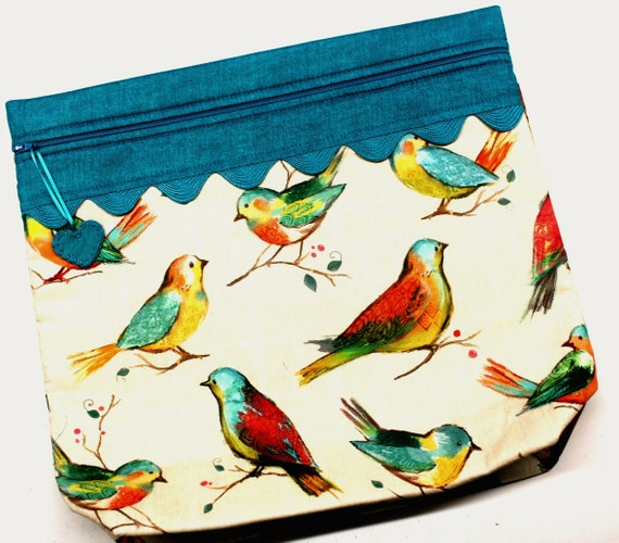 MORE2LUV Teal Summer Birds Project Bag