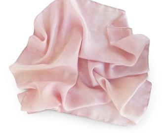 Pink silk scarf, small silk scarf, square scarf, purse scarf, small pink scarf, pink purse scarf, blush pink scarf, square silk scarf