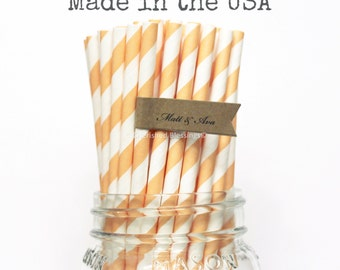 Peach Paper Straws 100 Peach Straws Wedding Table Setting, Party Supplies Baby Shower, Rustic Vintage Princess Party, Paper Goods, Mason Jar