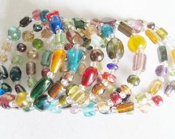 Rainbow Glass Beaded Memory Wire Bracelet, Czech Glass Multi-Colored Bracelet, Boho Memory Wire Bracelet, Summer Bracelet, Bling Diva Gal