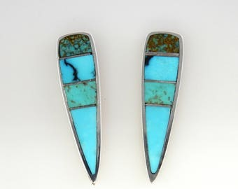 Silver Turquoise Inlay Earrings/Sterling Silver Turquoise Post Earrings/Silver Turquoise Earrings/Arizona Natural Turquoise Inlay Earrings