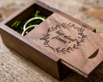 Engraved Wood Box Only ( Ring Box , Small USB Box , Engagement Ring Box , Tiny Gift Box , Ring Bearer Box in Maple or Walnut Wood )