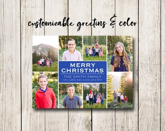 Holiday / Christmas Photo Collage Card (Digital File or Printed Cards)