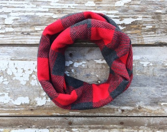 Red Infinity Scarf Plaid Scarf Gray Baby Scarf Chunky Scarf Red Gray Scarf Baby Toddler Scarf Baby Infinity Scarf Drool Bib Kids Scarf