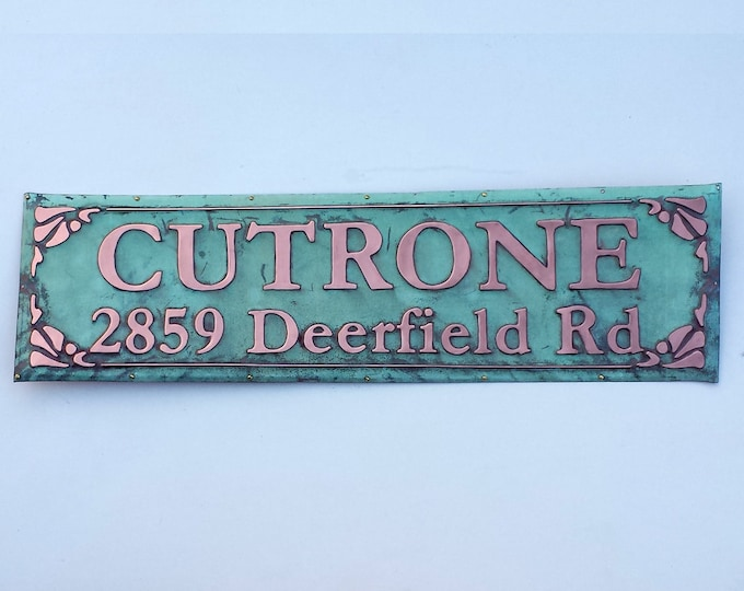"Address Plaque in Pure patinated Copper, 3"" and 2"" numbers/letters, made to order ,  polished and laquered"