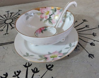 Condiment Bowl with Ladle Nippon China Mayonaisse Bowl Hand Painted China Floral bowl with Gold Trim Serving Bowl Footed Bowl Floral Nippon