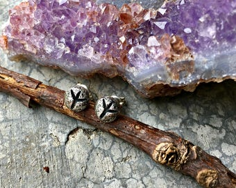 Elhaz (Algiz) Rune Post Earrings - Sterling Silver - Post - Runic - Boho - Bohemian - Witch - Runestone