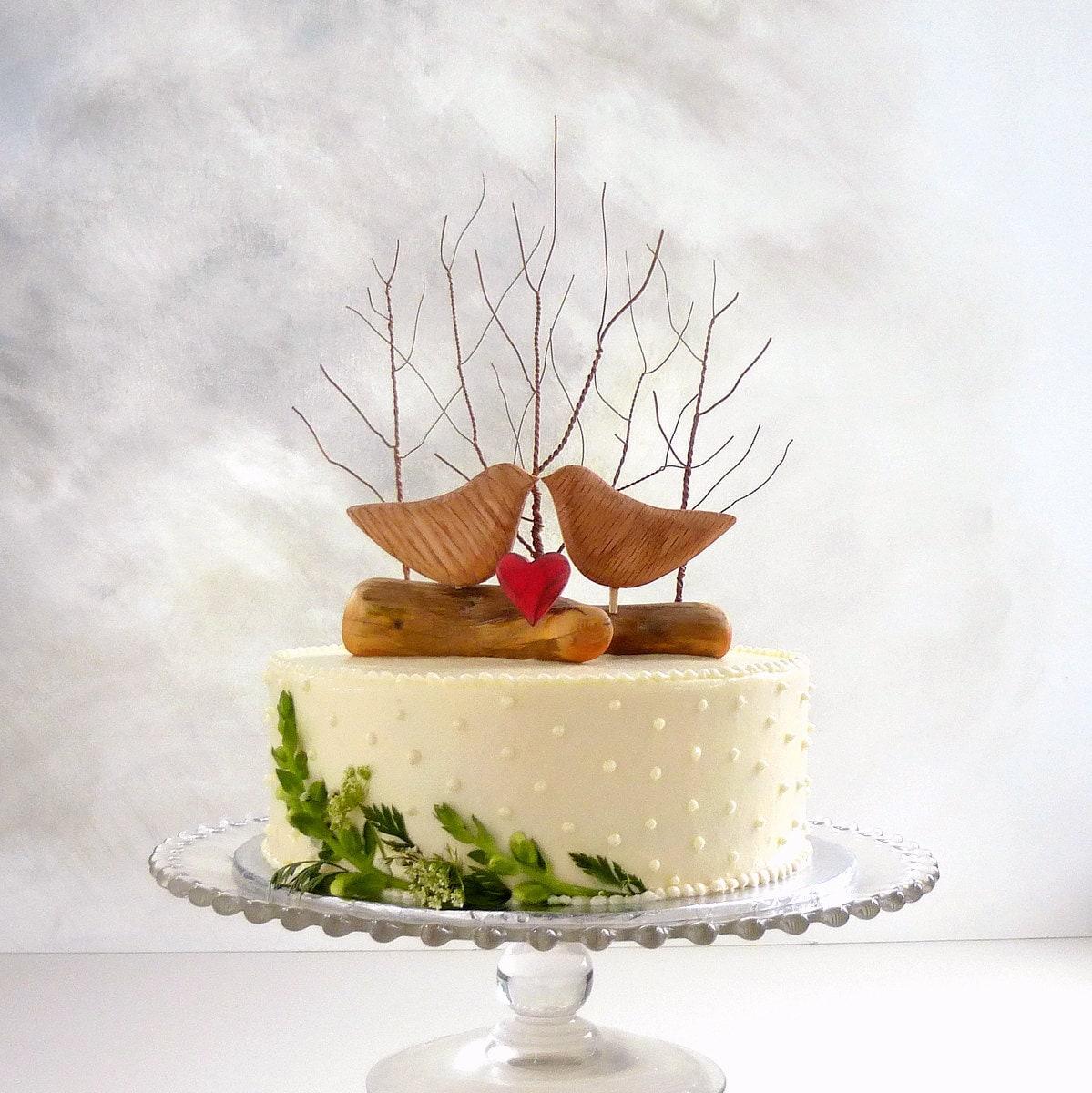 Etsy Wooden Bird Cake Topper