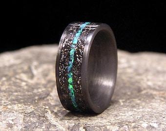 Blue Twilight Meteorite Shavings Inlay Carbon Fiber Wedding