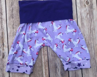 RTS Unicorn Grow With Me Harem Shorts, Cloth Diaper Shorts, Unicorn Toddler Shorts, Unicorn Baby Shorts by Note Any Treble