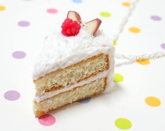 Coconut Cake Necklace , Cake Jewelry, Food Jewelry, Miniature Food Necklace, Kawaii Necklace, Fake Food Jewelry, Food Charm,Dessert Necklace