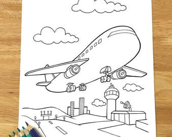 Cute Airplane Coloring Page! Downloadable PDF file!