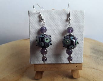 Pair of dangle earrings glass Designer, Amethyst, silver beads on 925 sterling silver