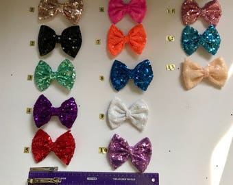 Hair bow clips for girl's  ( made with material sequin fabric)