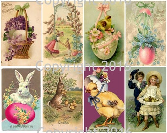 Printable Victorian Easter Cards Collage Sheet. #103 Instant Digital Download, Easter Eggs, Easter Rabbits, Bunnies, Scrapbooking