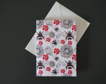 Black Bee Greeting Card