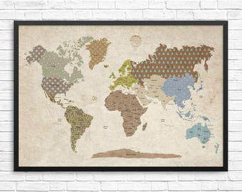 Bedroom decor etsy vintage world map kids word map poster gender neutral nursery decor boys bedroom gumiabroncs Image collections