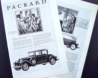 Vintage 1920's Car Advertisements Packard Black and White Classic Car Travel Ads Collectible Advertisements Wall Decor Man Cave