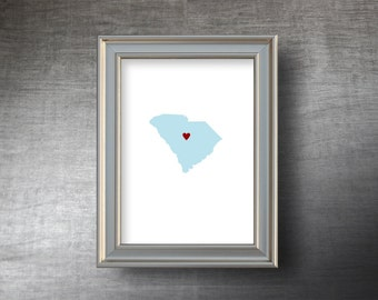 South Carolina Map Art 5x7 - 4 Color Choices - UNFRAMED Die Cut Silhouette - South Carolina Print - Personalized Text Optional