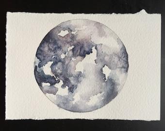 Full moon original watercolor