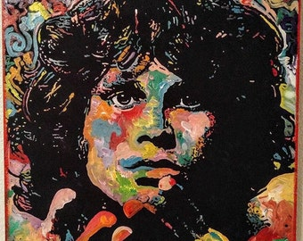 Jim Morrison of The Doors by Matt Pecson Pop Art Painting on Canvas Wall Art Original Painting Boyfriend Gift Husband Gift MADE TO ORDER