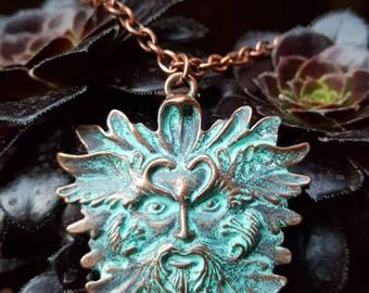 Brass Patina Greenman pendant, Spirit of the forest, Greenman necklace, Pagan jewelry