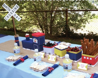 DIY Train Party Centerpiece Printables - Instant Download - 3 COLOR COMBOS to choose from