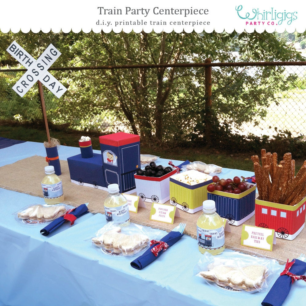 DIY Train Party Centerpiece Printables Instant Download 3